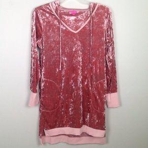 Betsey Johnson crushed pink velvet hooded tunic-M
